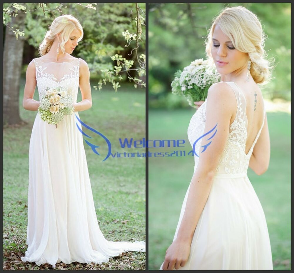 wedding gown chiffon simple bridal dresses size 12 14 16 ebay