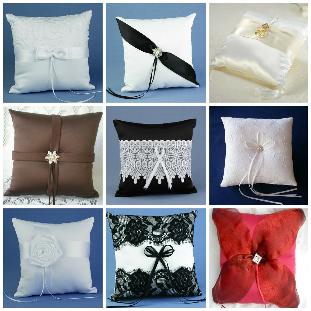 Red Black And White Ring Bearer Pillow