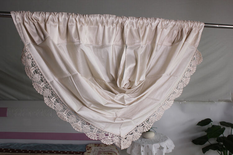 Elegant One Waterfall Valance With Crochet Trim Curtain