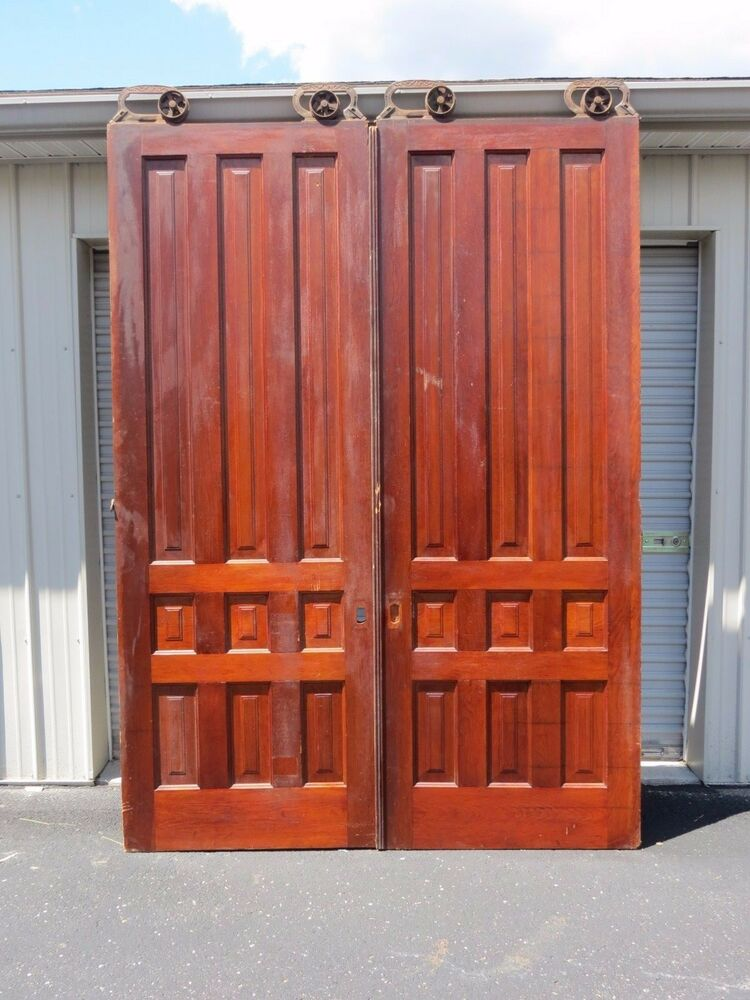 Antique Pair 8 Ft Tall Cherry Interior Sliding Pocket