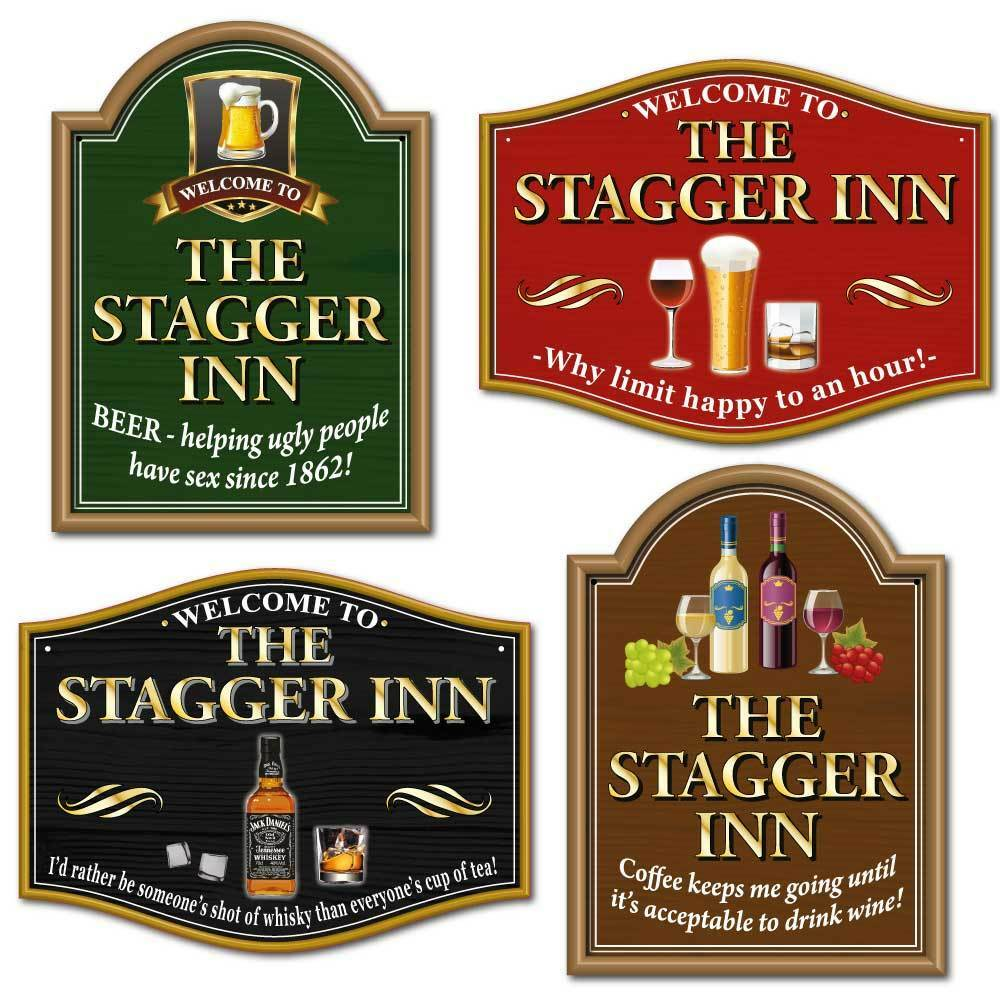 Home Bar Signs: THE STAGGER INN Funny Joke Pub Sign, Choice Or Sayings