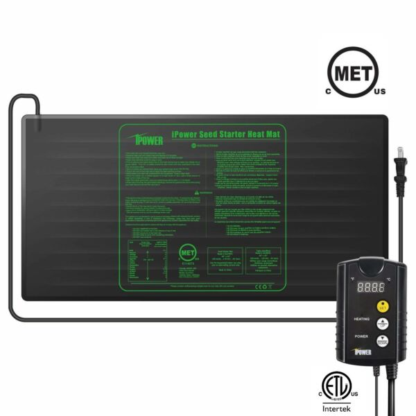 iPower MET Certified Seedling Heat Mat & ETL Digital Thermostat Control Combo