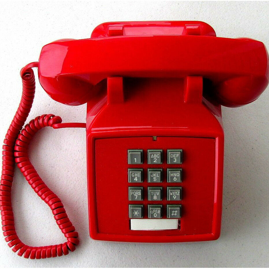 Retro Push Button Red Desk Telephone Vintage Style Corded ...