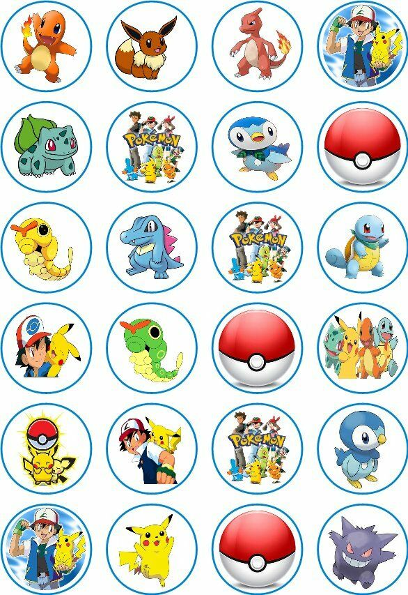 24 Pokemon Cupcake Fairy Cake Toppers Edible Rice Wafer ...