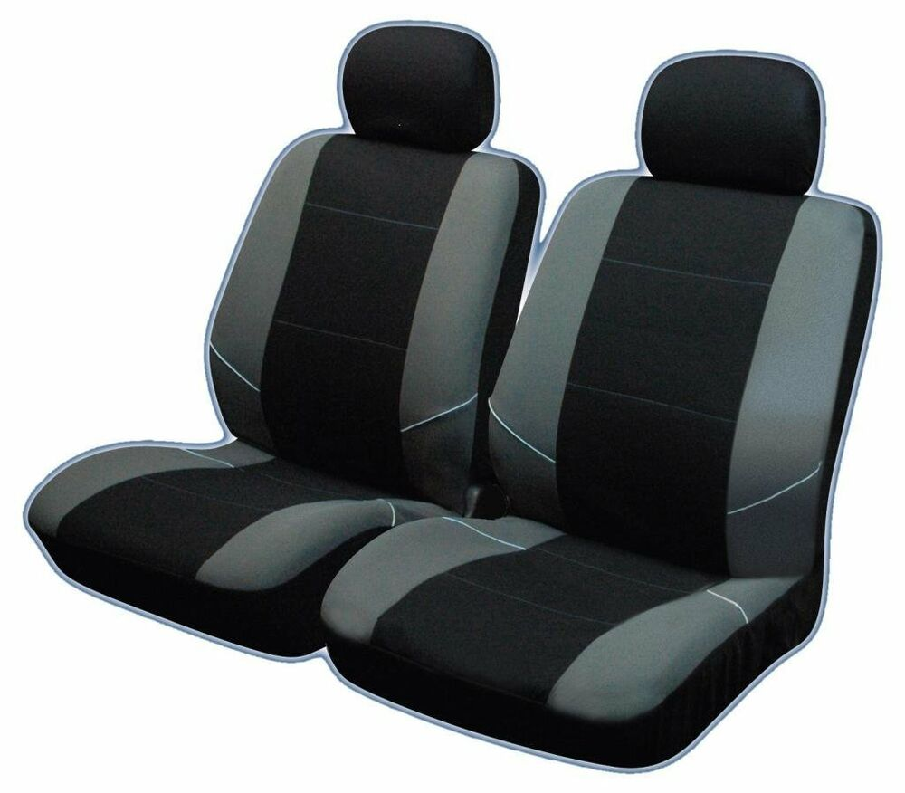 universal front car seat covers inc headrest black grey washable airbag safe ebay. Black Bedroom Furniture Sets. Home Design Ideas