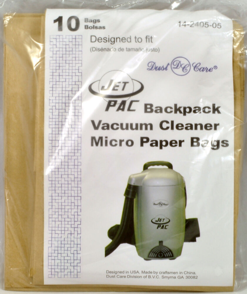 Jet Pac Backpack Vacuum Cleaner Bags 14 2405 05