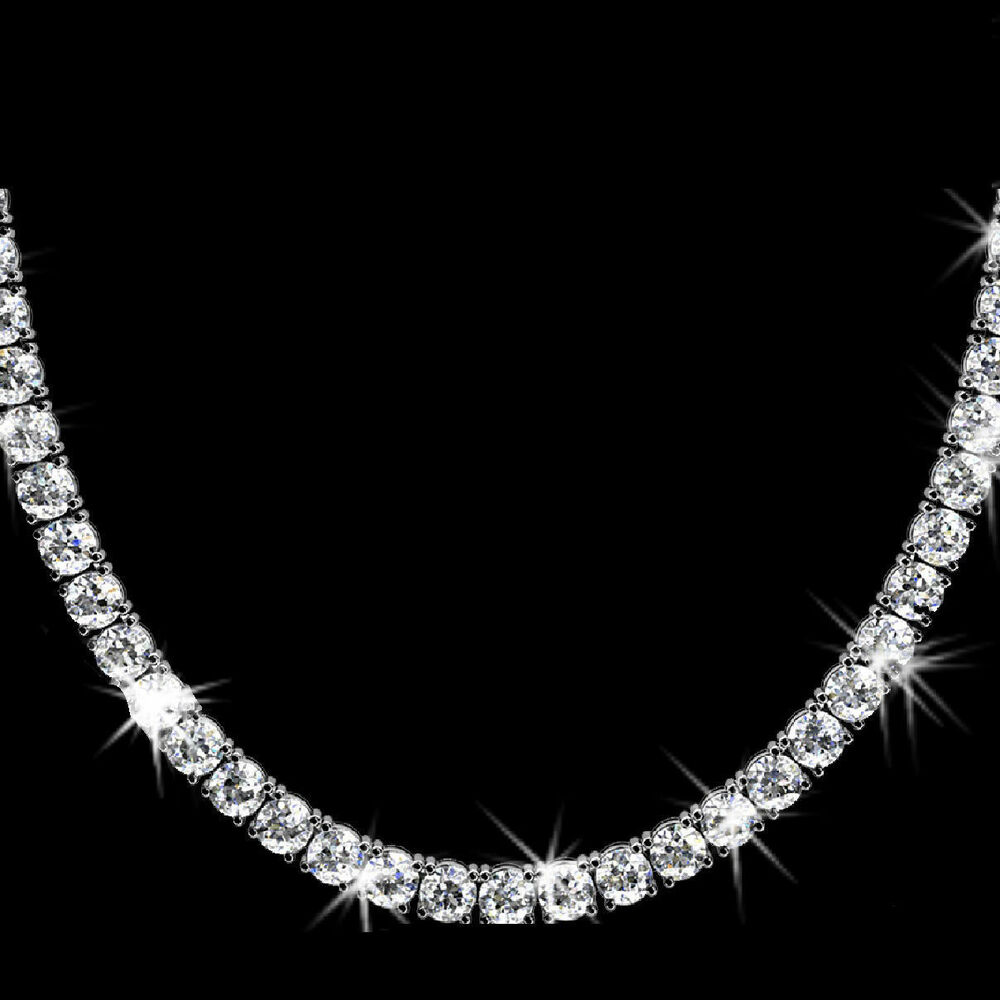 20ct Vvs1 D Round Diamond Necklace 14k White Gold Over