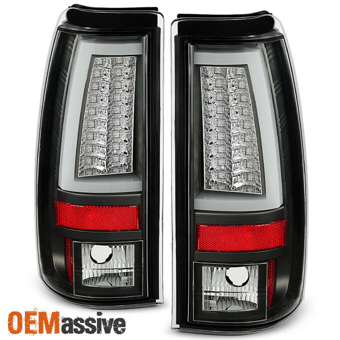 chevy silverado gmc sierra 1500 2500hd 3500 black led tube tail lights. Black Bedroom Furniture Sets. Home Design Ideas
