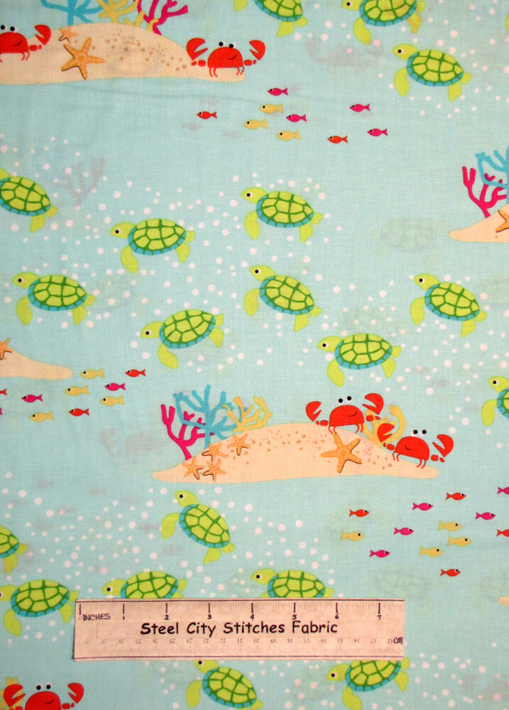 Meetin at the reef crab turtle fish cotton fabric yard for Fish fabric by the yard