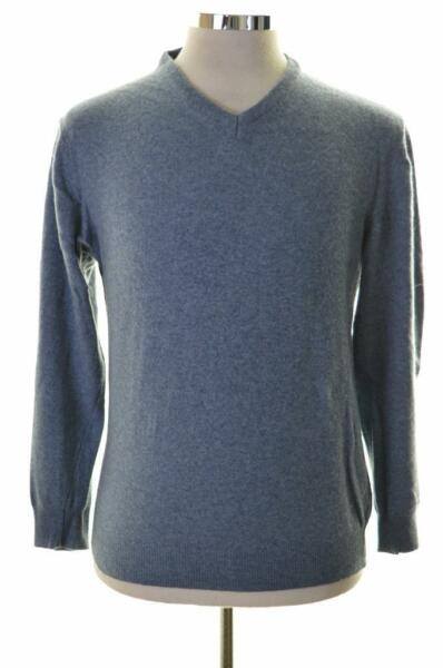 Dehavilland Mens Jumper Sweater Medium Blue Wool Polyamide