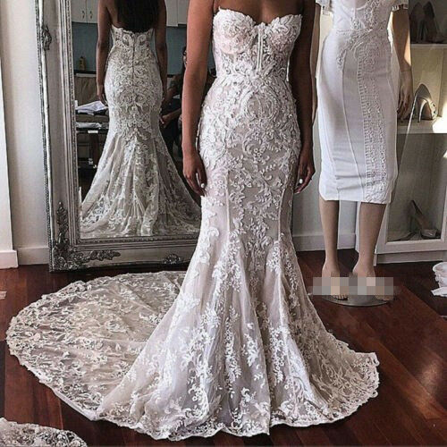 Strapless Lace Long Trumpet Bridal Gown Ivory Custom