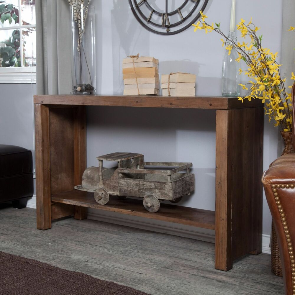 Rustic Wooden Foyer Bench : Distressed rustic console table reclaimed wood sofa