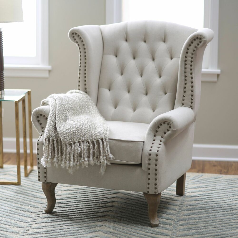 Wingback accent chair tufted nailhead trim linen blend for Living room chairs