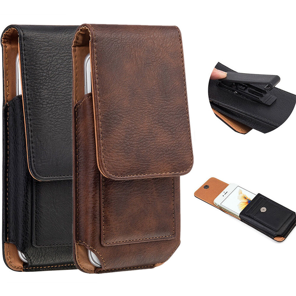 ... HOLSTER BELT LEATHER CARD SLOTS CASE POUCH FOR CELL PHONE : eBay