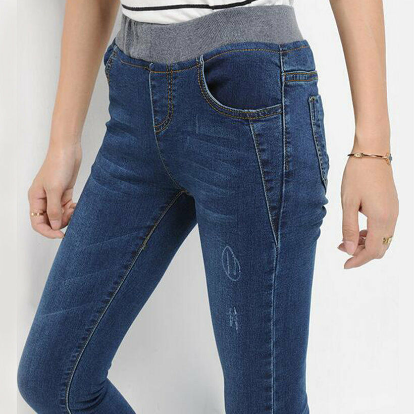 Fashion Jeans Womens Slim High Waist Elastic Skinny Denim ...