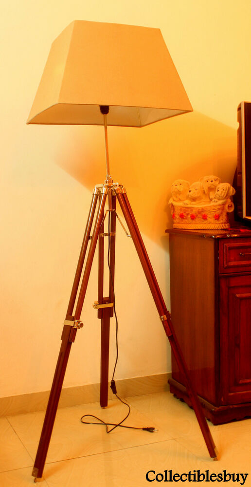 Vintage Led Tripod Floor Shade Lamp Brown Nautical Home Decor Lighting Antique Ebay