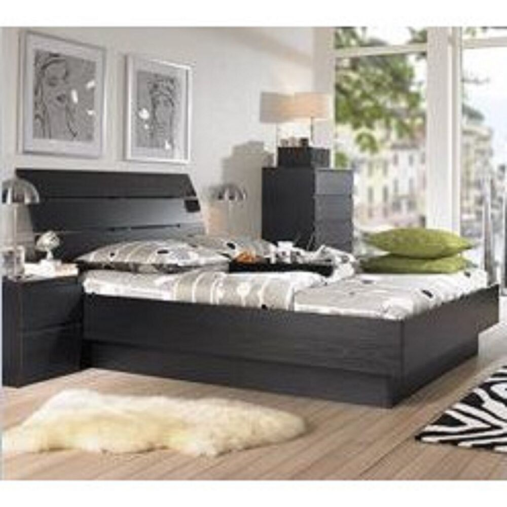 5 piece queen bedroom furniture set headboard bed dresser for Bed settings