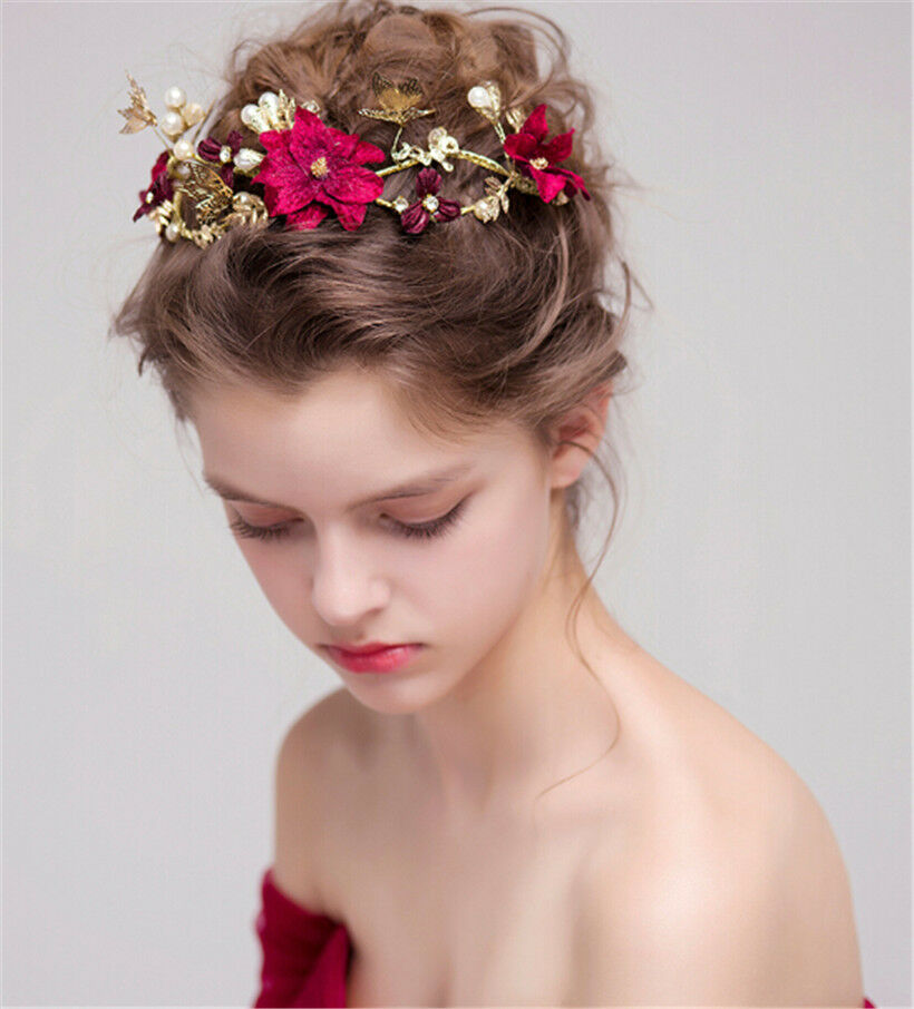 Wedding Hairstyle Crown: Wedding Tiara Burgundy Flower Crown Headband Rhinestone