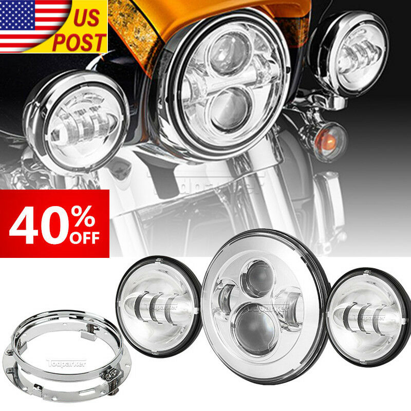 7 Quot Led Daymaker Headlight Passing Lights Fit Harley