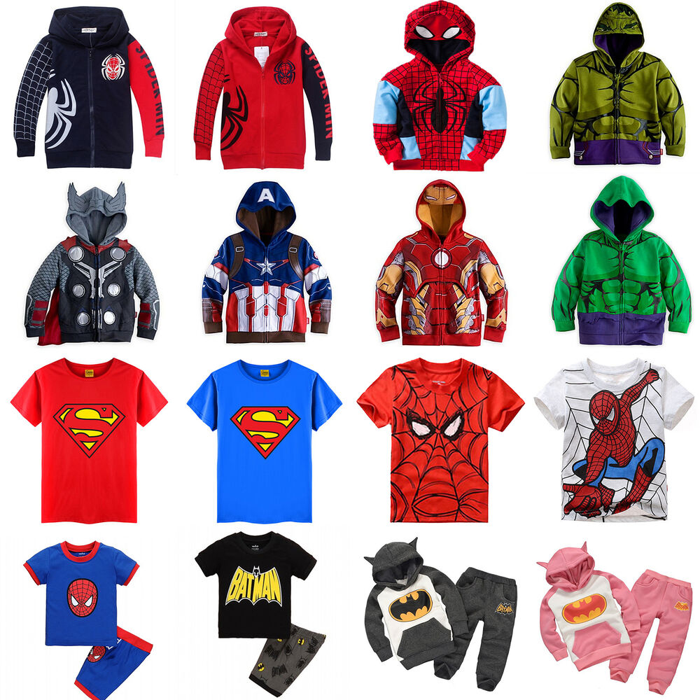 Kids toddler boys superhero hoodies coat sweatshirt t Boys superhero t shirts
