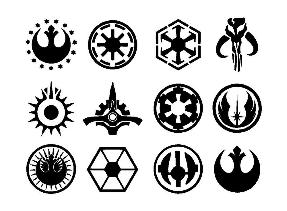 star wars jedi symbols set vinyl decals stickers ebay