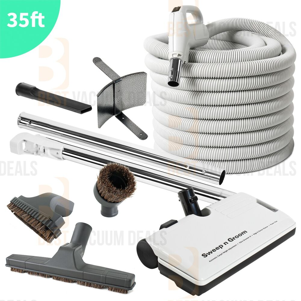 35 ft central vacuum electric powerhead kit 2 way switch hose
