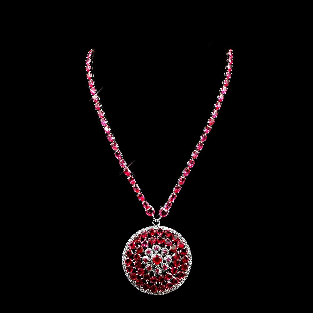 Pink Ruby Jewellery: Natural Pink Ruby Diamond Tennis Necklace Heart Cut