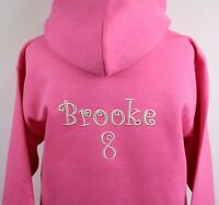 Personalised Embroidered Girls Crystal Embellished Hoodie Any Wording 2 Colours!