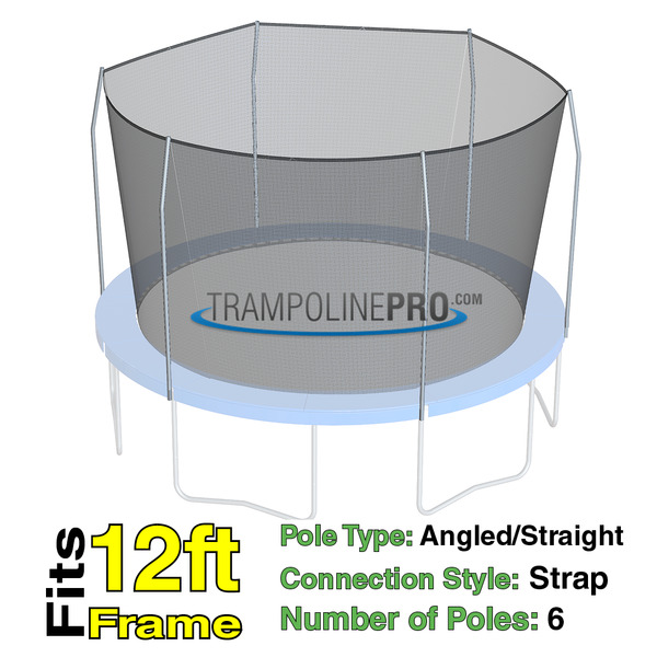12' Foot Round Trampoline Safety Net For 6 Straight Pole
