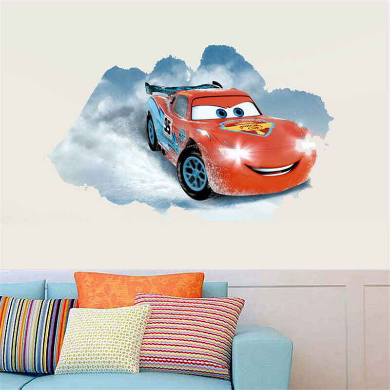 Disney pixar cars lightning mcqueen mater nursery kids for Disney pixar cars wall mural