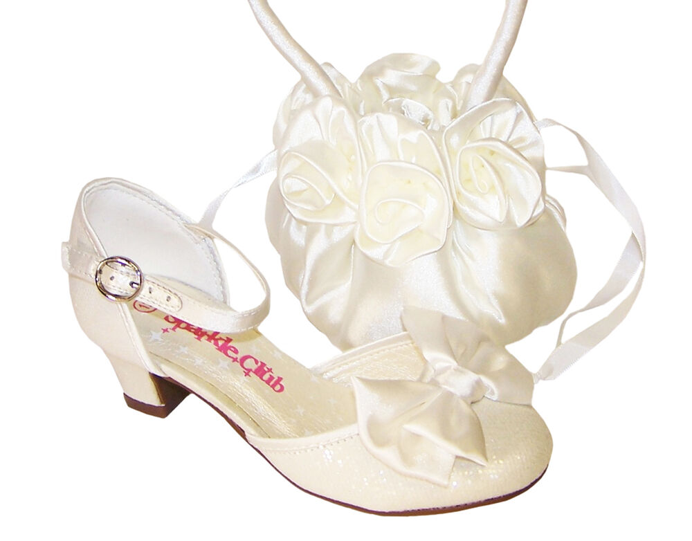 Girls Ivory Sparkly Bridesmaid Low Heel Shoes Flower Girl ...