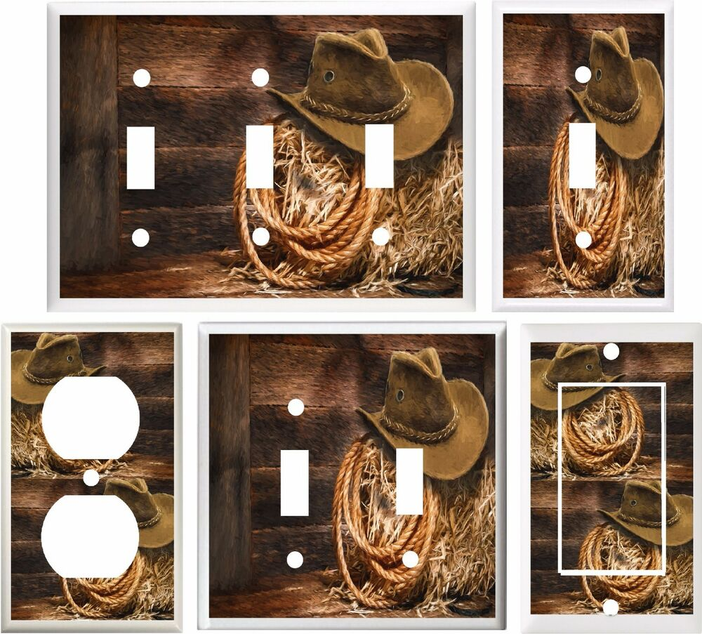 COWBOY HAT & ROPE WESTERN BARN SCENE LIGHT SWITCH COVER