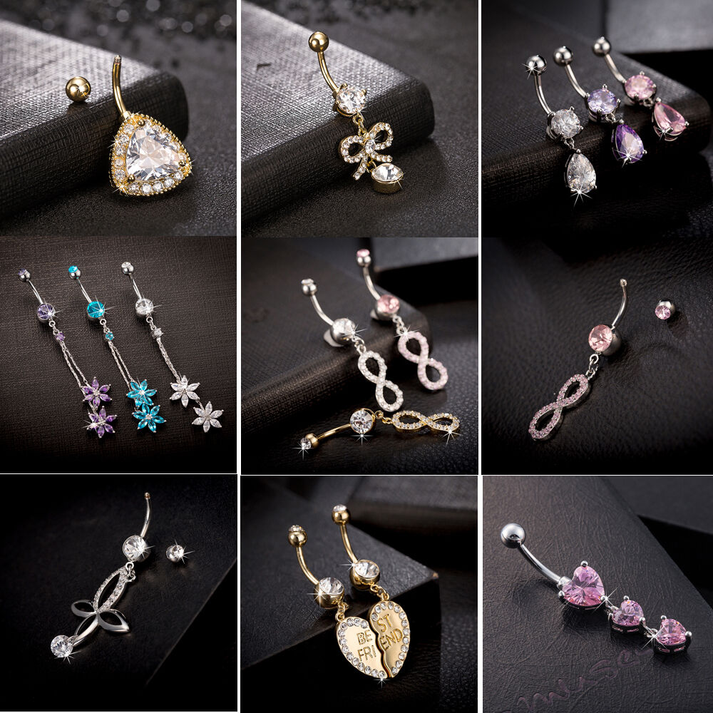 piercing jewelry rhinestone navel rings belly button bar ring dangle 4508