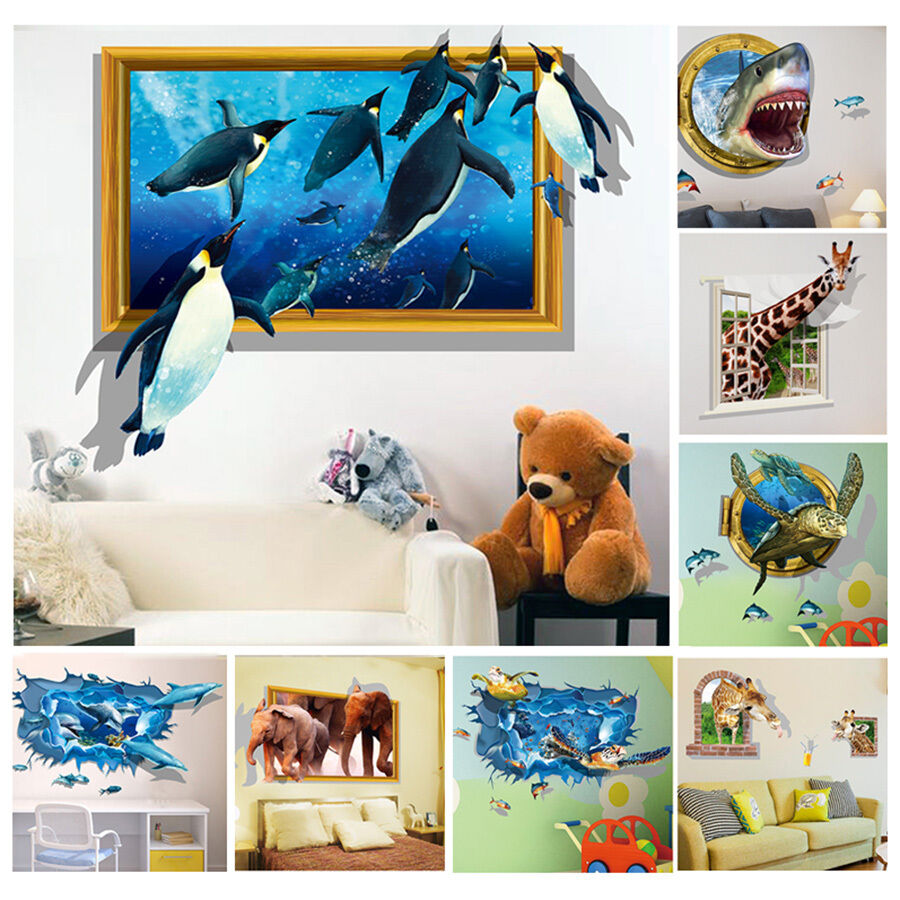 3d diy removable wall stickers animal decal kids room home for Home wallpaper ebay