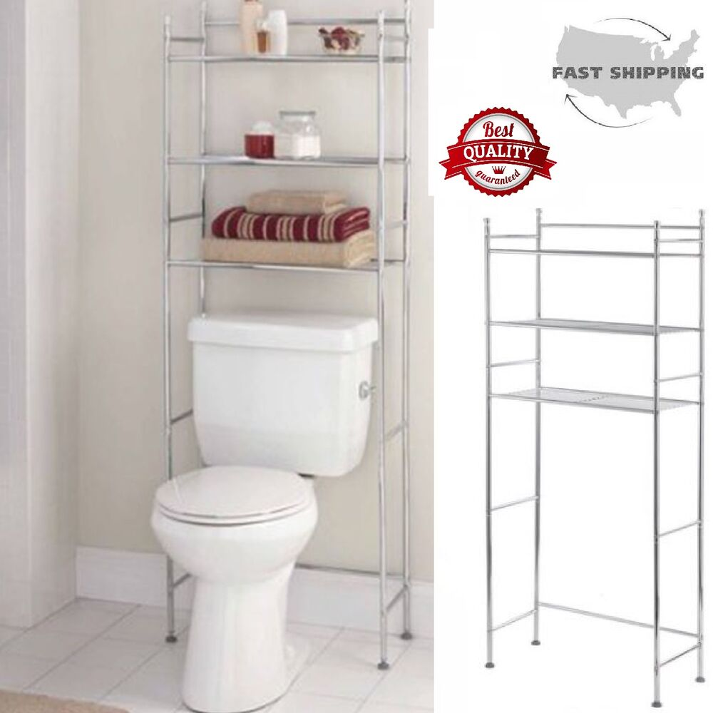 3 Shelf Bathroom Organizer Over The Toilet Storage Space Saver Metal Towel Rack Ebay