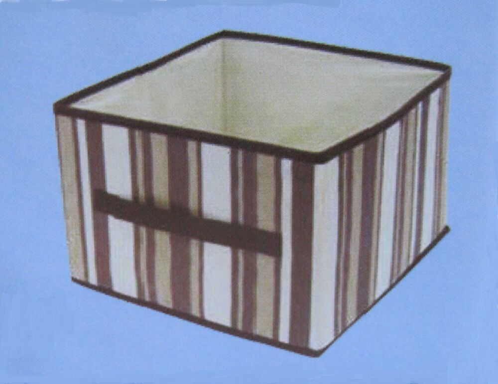 collapsible storage bin cube fabric organizer brown tan striped 11 x 11 x 8 ebay. Black Bedroom Furniture Sets. Home Design Ideas