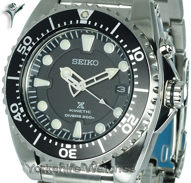 Seiko kinetic 200mtr pro divers stainless steel bracelet 2yr warranty ska371p1 ebay for Movado kinetic