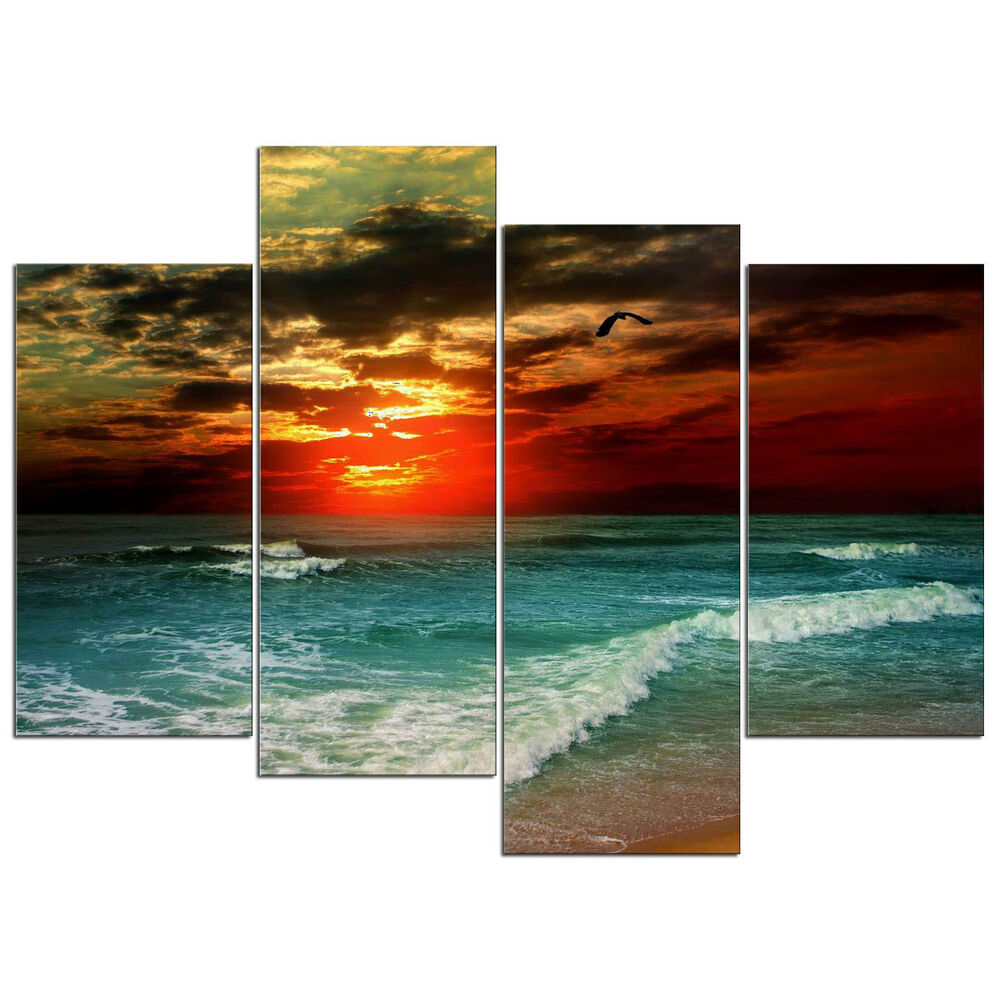 Framed canvas prints abstract painting pictures landscape wall art home decor ebay - Canvas prints home decor photos ...