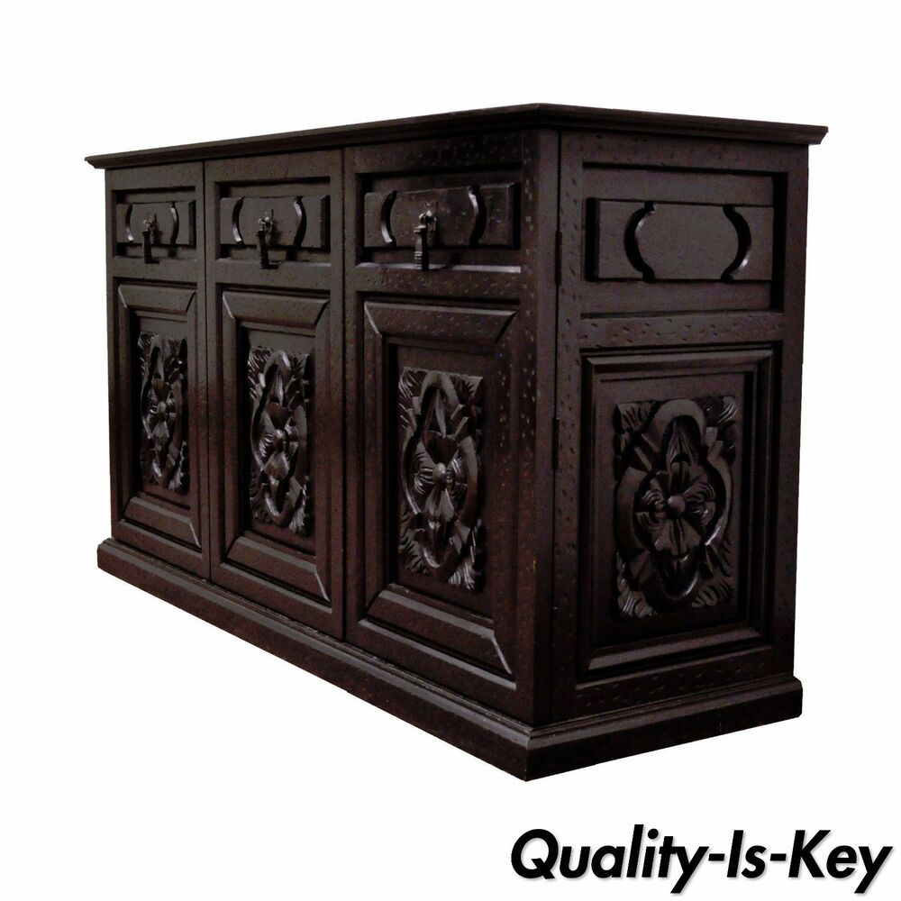 vintage rustic style carved wood distressed black sideboard credenza cabinet ebay. Black Bedroom Furniture Sets. Home Design Ideas