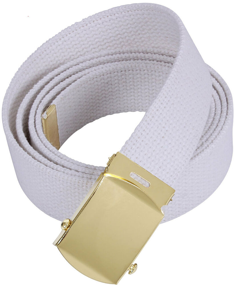 White Military Cotton Web Belt with Gold Buckle  44da8a06a54