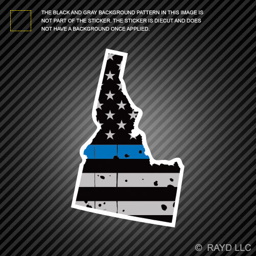 Distressed Thin Blue Line Idaho State Shaped Subdued Us Flag Sticker Police Id Ebay