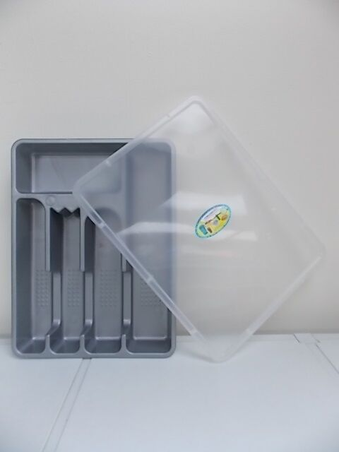 Opif silverware cutlery drawer tray lid utensil storage for Cutlery storage with lid