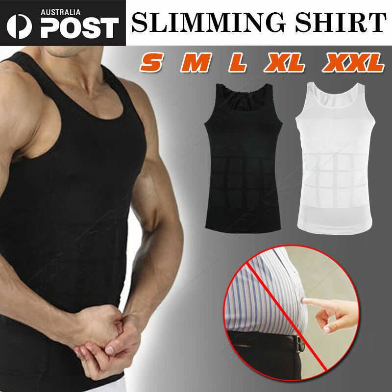 65202a98e16f9 Details about Men s Body Shaper Slimming Compression Shirt Mens Shapewear  Belly Tummy Trimmer