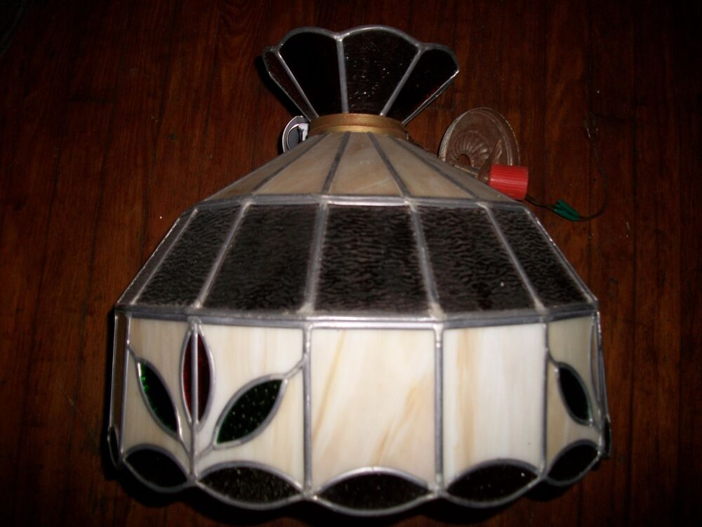 Vintage Tiffany Style Floral Complete Stained Glass Swag Lamp Green Amber Works Ebay