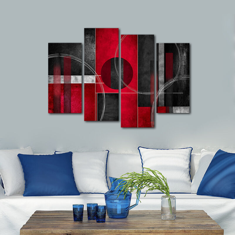 Framed Abstract Canvas Print Home Decor Wall Art Painting Pictures Red Black Ebay