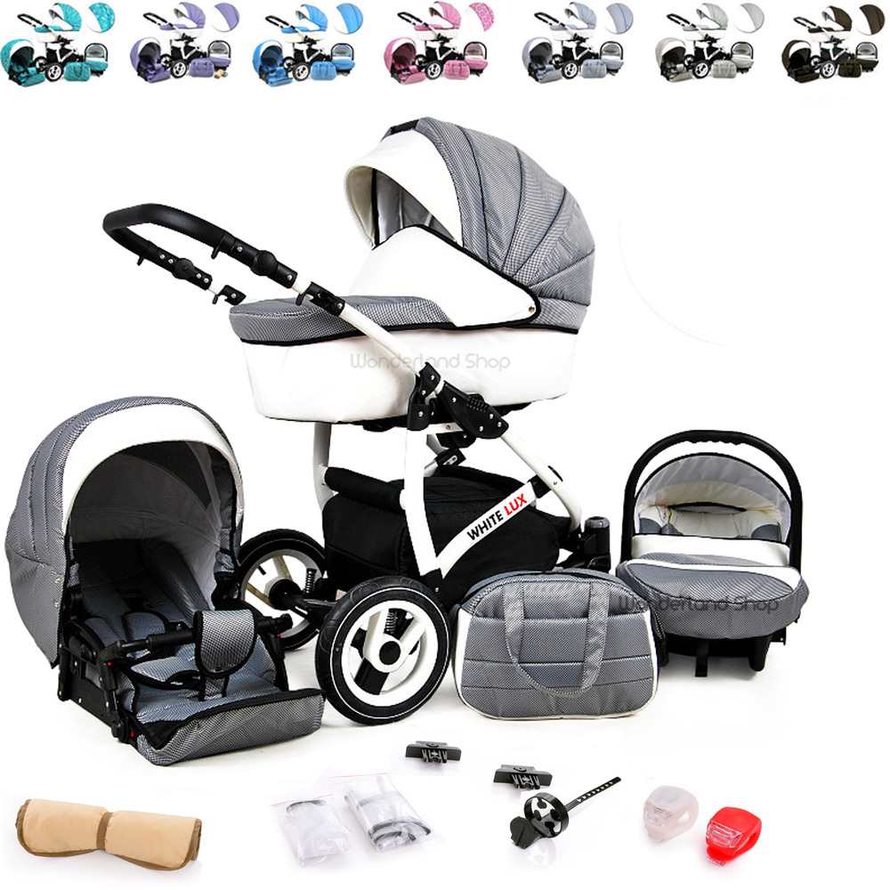 baby pram stroller pushchair 3in1 car seat carrycot travel system buggy led lamp ebay. Black Bedroom Furniture Sets. Home Design Ideas