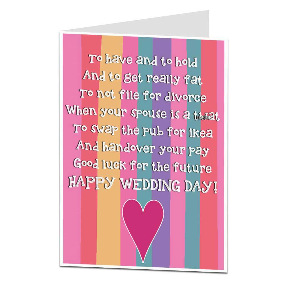 Wedding Poems For Bride And Groom: Funny Wedding Card Congratulations Mr & Mrs Bride & Groom