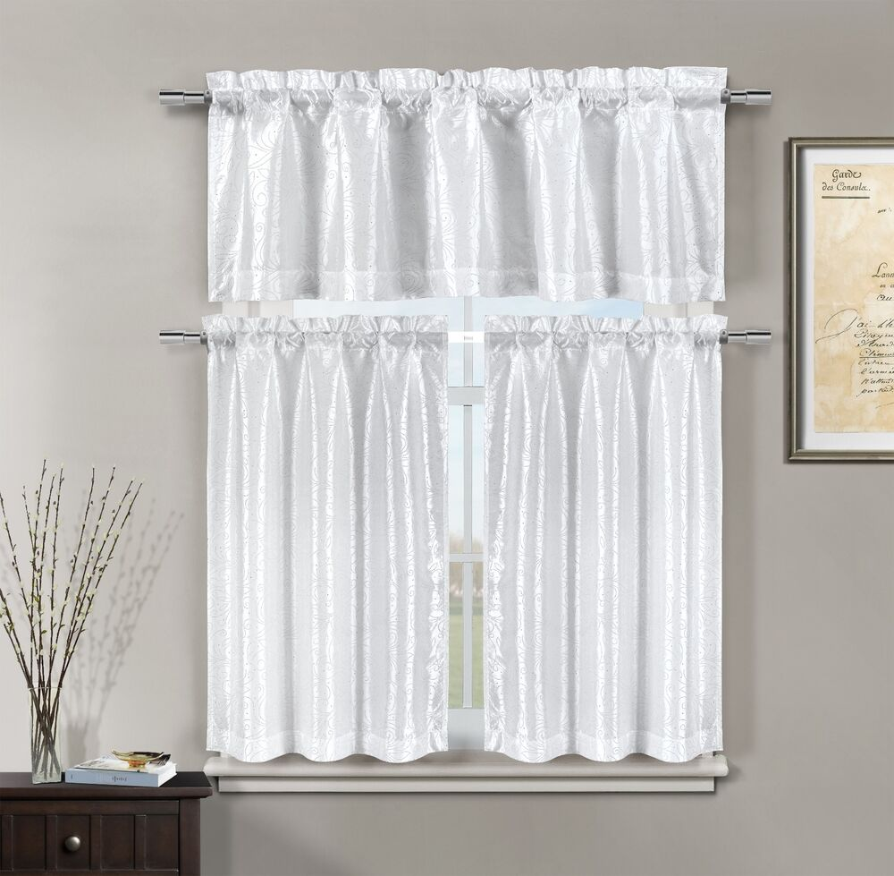 Kitchen Curtains And Valances: Minka Faux Silk White Kitchen Window Curtain 3 Piece Set