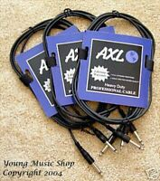 3 NEW Instrument/Guitar Cables 10' Foot AXL CI-100-10 CI10010 Amp Cord Wire Feet