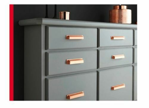 X5 Brushed Copper Finger Pull Cup Handle Kitchen Cabinet Cupboard